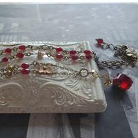 Antique Franceガーネット/vintage スワロフスキーSiam ネックレス
