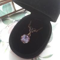 サフィレット Purple-Blue(9ミリ) 花葉クラシカルネックレス