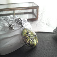 ヴィンテージ Lemonライムオパール(Blueシラー) アールヌーボー調ネックレス