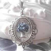 ヴィンテージ Blue花かごインタリオ ネックレス