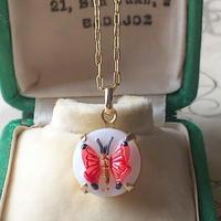 ヴィンテージ 蝶(Red/White)11ミリ ネックレス