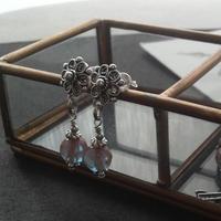 アンティーク サフィレットBeads silver925flowerピアス