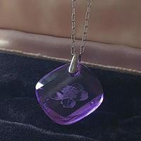 ヴィンテージ Violet-flower/スワロフスキー ネックレス(Silver)