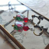 ヴィンテージ SquareーPink薔薇/Dark-Ruby イヤリング