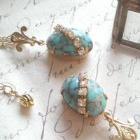 ヴィンテージ Turquoise/Crystal Rhinestone ネックレス