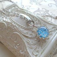 ヴィンテージ Sky-Blue Opal/White-Silver(15ミリ)クラシカルネックレス
