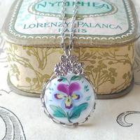 ヴィンテージ Purple・Yellowパンジー/3-flowers Silverネックレス