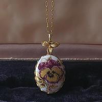 ヴィンテージ Purple-Gold/Pansy floralネックレス