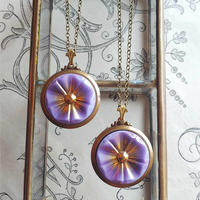 ヴィンテージ 藤色Gold-Purple フラワー/Art-Deco ネックレス