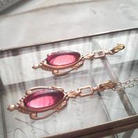 ヴィンテージ Rose-pink(15×7ミリ)Victorian ネックレス