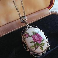 ヴィンテージ Purple薔薇/陶器 アンティークSilverネックレス