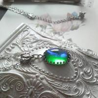 ヴィンテージ Green/Blueドラゴンズブレス Silverネックレス