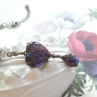 ドラゴンズブレス レアHeart/しずく Purpleキャッツアイネックレス