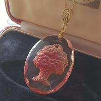 ヴィンテージ Coral-Pink flower-Basket Goldカラーネックレス