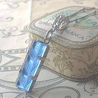 アンティーク Sapphire-Blue ーArt Deco(25×10㎜)ネックレス