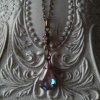 サフィレット(13×8ミリ)Pear型/ラインストーン ネックレス