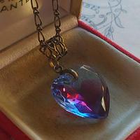 ヴィンテージ Sapphire/Ruby-Rose(18㎜)真鍮古美ネックレス