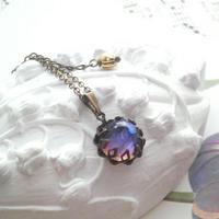 ヴィンテージ Purple/Blueオーロラmirrored ネックレス