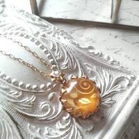 ヴィンテージ Floral/yellow satin ネックレス