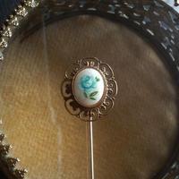 ヴィンテージ Blue薔薇 クラシカルピンブローチ
