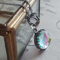 ヴィンテージ Iris-Glass(11㎜)アンティーク Silverネックレス2