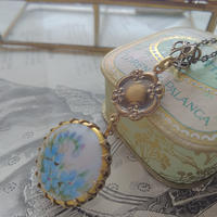 antique わすれな草Blue/Porcelain クラシカルネックレス
