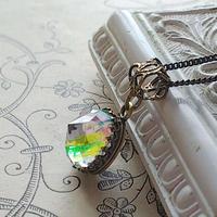ヴィンテージ Iris-Glass(11㎜)アンティークGold ネックレス 1