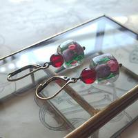 ヴィンテージ SquareーPink薔薇/Dark-Ruby フレンチフックピアス