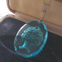 ヴィンテージ Light-Blue flower-Basket Silverカラーネックレス