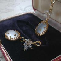 ヴィンテージ Frost・White-STAR/Antique English Cut beads ネックレス