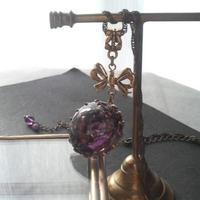 ヴィンテージ Dark-Purple Swirl リボンネックレス