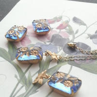 ヴィンテージ Flower&Leaf/サファイアBlue ネックレス
