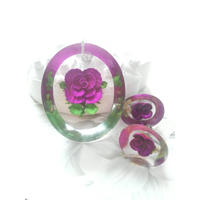 ヴィンテージ Lucite/Pink-Purple薔薇 ネックレス&イヤリング