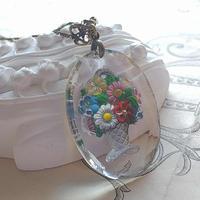 ヴィンテージ   ColorfulーflowerーBasketインタリオ 40×30ミリ ネックレス