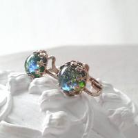 ヴィンテージ Blue/Green 煌くイヤリング