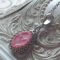 ヴィンテージ Opaque-Pink-flower クラシカルネックレス(Silver)