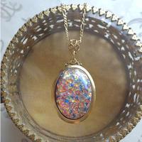 ヴィンテージ  Beautiful  Fire Opal(25×18ミリ)ネックレス