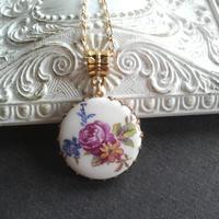 ヴィンテージ 薔薇floral  porcelain ネックレス