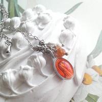 フランスヴィンテージ メダイ(Apricot)ネックレス