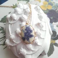 ヴィンテージ Blue-flower ネックレス