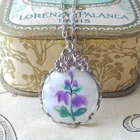 ヴィンテージ Purpleホタルブクロ/3-flowers Silverネックレス