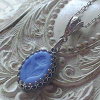 ヴィンテージ Opaque-Blue-flower クラシカルネックレス(Silver)