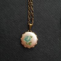 ヴィンテージ Blue薔薇/Rose ネックレス