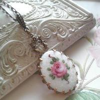 ヴィンテージ Guilloche エナメル薔薇/flower ネックレス