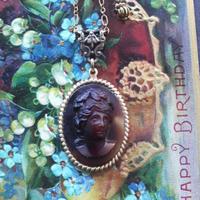 ヴィンテージ Chocolate-Marble/Lady エレガントネックレス