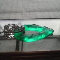 再販 ヴィンテージ Emerald  Flowery-Teardrop  ネックレス