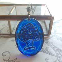 ヴィンテージ Dark-SapphireBlue flower-Basket 真鍮古美ネックレス