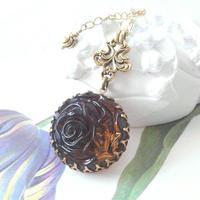ヴィンテージ Brown薔薇Gorgeousネックレス