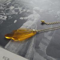 ヴィンテージ Amber(琥珀)/Art-Deco ミディアムロングネックレス