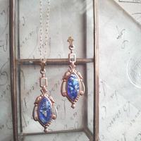 ヴィンテージ Blueオパール(15×7ミリ)Victorian ネックレス